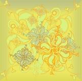 Golden Rose, hand-drawn flower, floral ornament modern, vector illustration,sunny Stock Images