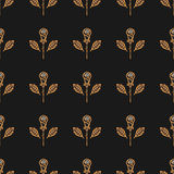 Golden rose seamless pattern Vector minimal design floral ornament Stock Image