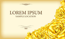 Golden Rose with text on a card or invitation.Vector illustratio Stock Images