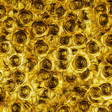 Golden roses background. 3D illustration of metallic gold roses Stock Image