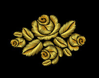 Golden roses embroidery fashion hand drawn illustration gold flower. Patch traditional background decoration ornament Royalty Free Stock Images
