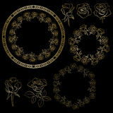 Golden vector roses and frames of flowers - floral set Royalty Free Stock Photography