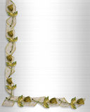 Golden Roses and ribbons Wedding invitation Stock Photos