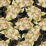 Golden roses on the striped background. Stock Images