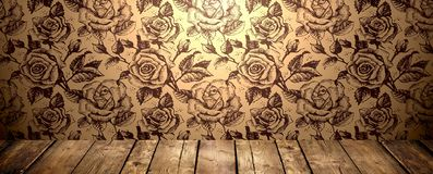 Golden roses Wallpaper and wooden texture, banner Stock Photography