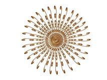 Golden rosette 5. Golden rosette on the white background. Illustration made on computer Royalty Free Stock Image
