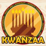 Golden Round Button with Candlelight Silhouette for Kwanzaa Celebration, Vector Illustration. Flat design with golden round button with kinara and the Seven Royalty Free Stock Image
