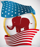 Golden Round Button with Elephant and American Flag Around it, Vector Illustration Stock Images