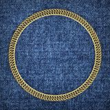 Golden round chain on a denim background, 3d. Render. Round frame with jewelry chain royalty free stock images