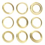 Golden round circle empty frames Stock Photography