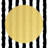 Golden round circle label with volume structure on black and white stripes background. EPS 10 stock illustration