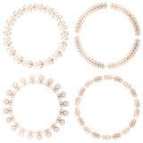 Golden round floral frames, design elements Stock Images
