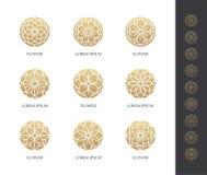 Golden round flower logo set. Linear floral icon. Luxury design concept vector illustration