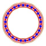 Golden round frame with American symbols royalty free stock photo