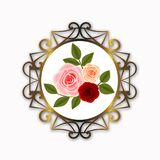 Golden round frame decoration with roses and leaves. Gold round frame decoration beautiful border background vintage golden white beautiful roses leaves royalty free stock photo