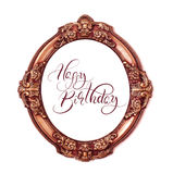 Golden round frame isolated on white background with text Happy Birthday. Calligraphy lettering Royalty Free Stock Photos
