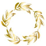 Golden round frame of olive leaves vector vector illustration