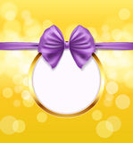 Golden round frame with violet bow ribbon Royalty Free Stock Photography