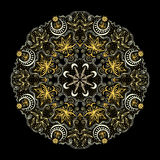 Golden Round Lacy Tantric Ornament Stock Image