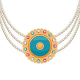 Golden round pendant necklace with jewelry Royalty Free Stock Photo