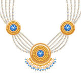 Golden round pendants necklace with jewelry gemstones on diamond chains Stock Images