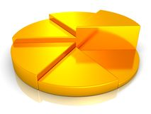 Golden round pie success business chart on white Stock Photo