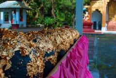 Golden round stone. In Thai temple Royalty Free Stock Photos