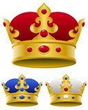 Golden Royal Crown. A golden royal crown in three different versions, isolated on white background. Eps file available stock illustration