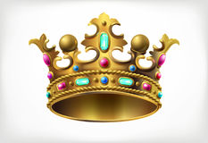 Golden royal crown with multi-colored precious stones Stock Images