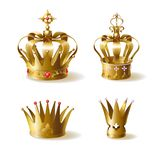 Golden royal crowns 3d realistic vector set vector illustration