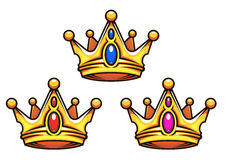 Golden royal crowns with jewelry Royalty Free Stock Photography