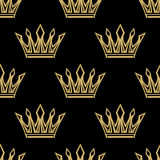 Golden royal crowns seamless pattern Royalty Free Stock Image