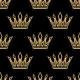 Golden royal crowns seamless pattern Royalty Free Stock Image