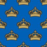 Golden royal crowns seamless pattern Stock Photo