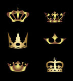 Golden royal crowns vector free template Stock Photography
