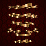 Golden royal design ribbon element with patterns Royalty Free Stock Photography