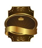 Golden royal label with corners Royalty Free Stock Image