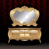 Golden royal mirror and desk, flat style over dark red background Royalty Free Stock Photo