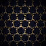 Golden Royal Pattern on Blue Background Stock Photo