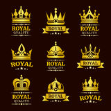 Golden royal quality vector crown logo templates set Stock Photography