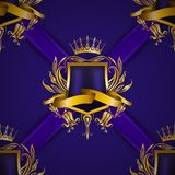 Golden royal shield with floral elements Stock Images