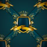 Golden royal shield with floral elements Royalty Free Stock Photography