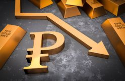 Golden ruble symbol and golden arrow down Stock Photography
