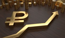 Golden ruble symbol and arrow up. 3D rendered illustration.  Royalty Free Stock Photos