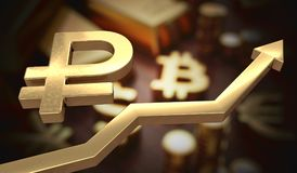 Golden ruble symbol and arrow up. 3D rendered illustration.  Royalty Free Stock Images