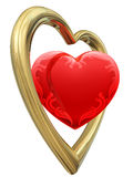 Golden and ruby heart shapes Stock Images