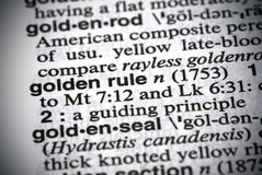 Golden Rule. Close up of Golden Rule definition in the dictionary Royalty Free Stock Image