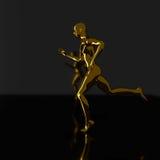 Golden running man silhouette Stock Photography