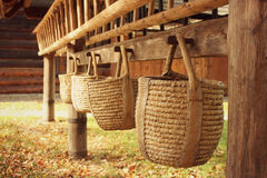 Golden Rural Corny Baskets Royalty Free Stock Images