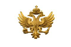 Golden Russian coat of arms isolated on a white background. Coat of arms of Russia is the official state symbol of the Russian Federation and Russian Empire in royalty free stock photos